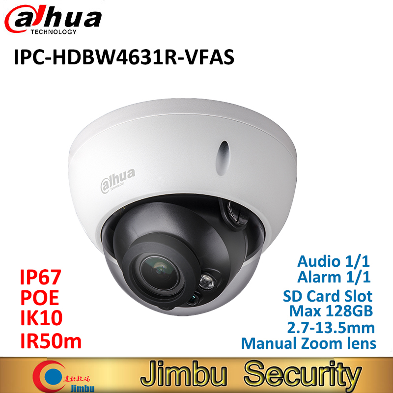 Dahua 6MP IP camera IPC-HDBW4631R-VFAS CMOS POE 2.7-13.5mm Manual zoom lens IK10 POE CCTV camera with SD card slot Max128GB dahua ip camera 6mp poe ipc hdbw4631r s support sd slot ir30m ik10 ip67 cctv camera english firmware