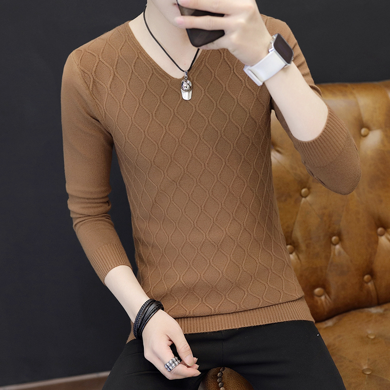 Men Of New Fund Of 2020 Autumn Outfit, Backing V-neck Checked Sweater Sweater Cultivate One's Morality Youth Knitwear