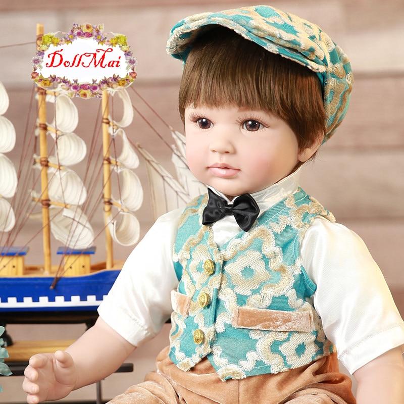 23 pouces/58 cm réaliste Reborn bébés doux Silicone réaliste garçon bébé poupées avec des yeux bruns enfants jouet de couchage dollmai