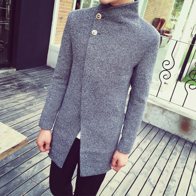2017 autumn and winter slim trench  male personalized fashion turn-down collar wool coat The man's dust coat M-3XL