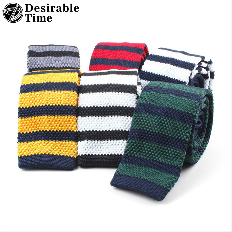 e4a24f4e8af7 Desirable Time Mens Striped Knit Ties Plain School Neck Ties Skinny Woven Tie  6cm Gravatas Slim Cravats Men Accessories A75-in Men's Ties & Handkerchiefs  ...