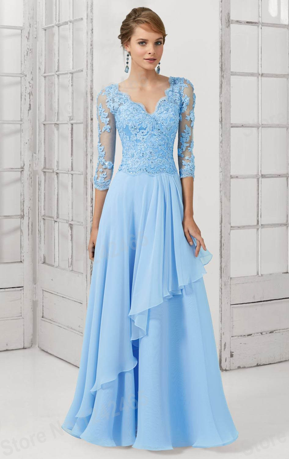 Sheath V Neck Appliqued Beaded Long Chiffon Evening Dress Evening ...