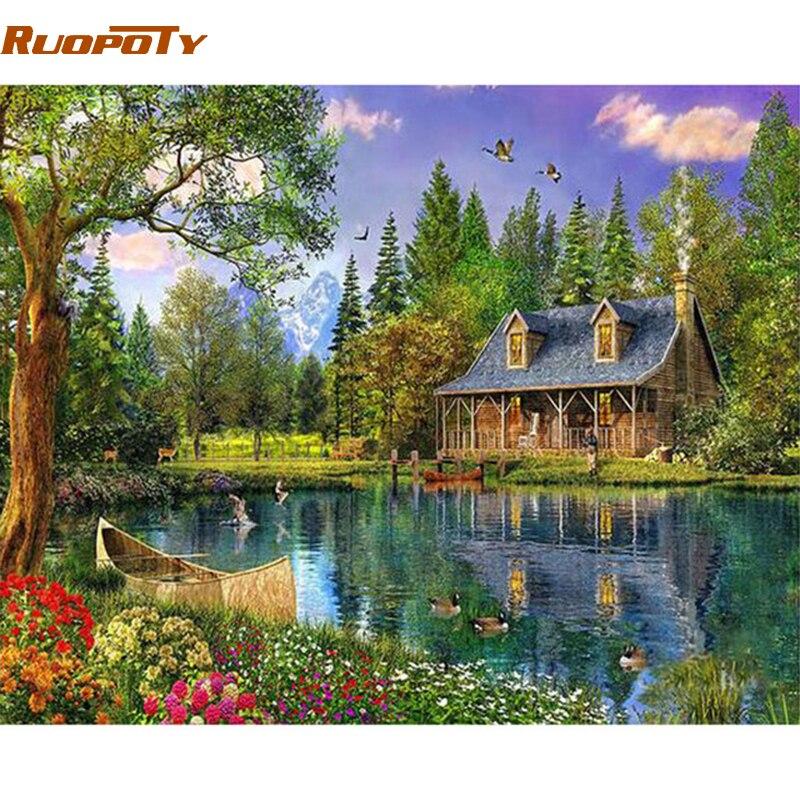 RUOPOTY рамка Страна Чудес DIY картина по номеру Пейзаж Современная Акриловая Краска на холсте картина уникальный подарок для домашнего декора искусство|Рисование и каллиграфия|   | АлиЭкспресс