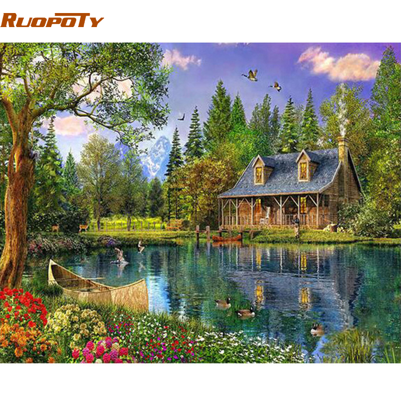 RUOPOTY Frame Wonderland DIY Painting By Number Landscape Modern Acrylic Paint On Canvas Painting Unique Gift For Home Decor Art
