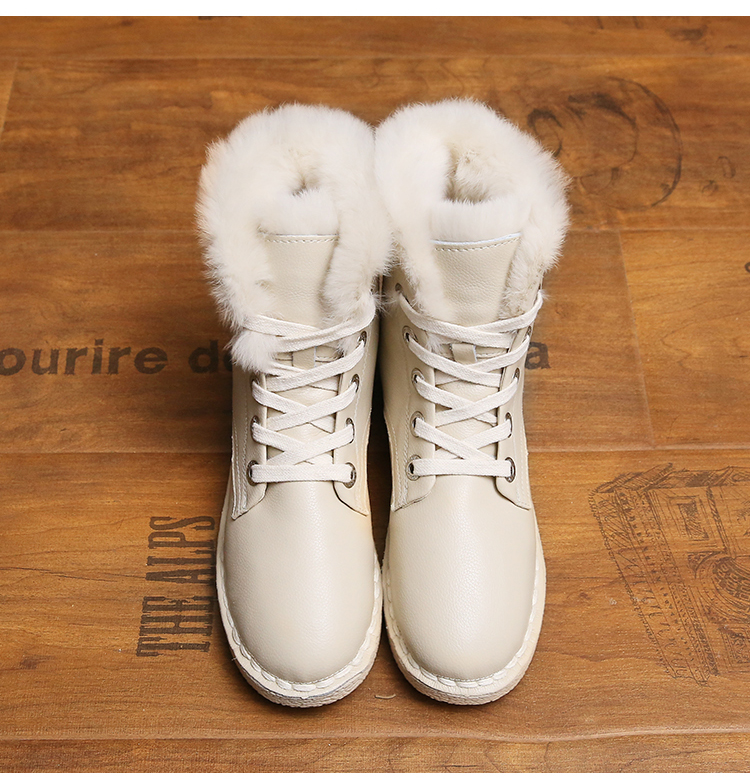 ФОТО Free Shipping Women's Fashion Genuine Leather Snow Boots Platform Rabbit Hair Casual Winter Shoes Warm Mid-calf Boots Size 35-40