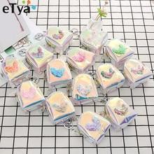 ETya, модная милая сумка для монет с кольцом для ключей, Женский ПВХ кошелек для монет, на молнии, мини-кошельки,, сумка для денег, сумки для детей, девочек