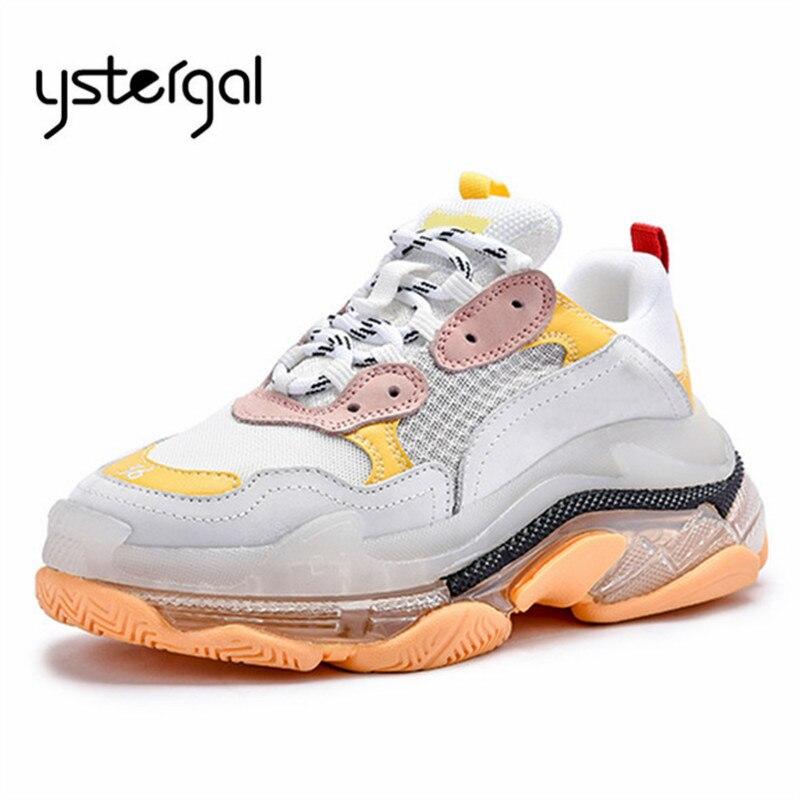 Ystergal 2019 nowy przezroczysty podeszwa kobiet Sneakers platformy pnącza oddychające Tenis Feminino dorywczo płaskie buty kobieta trenerzy w Damskie buty typu flats od Buty na  Grupa 1