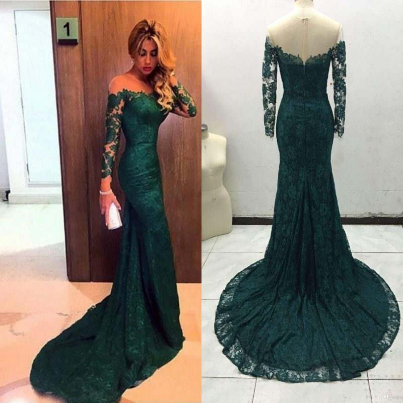 Dark Green Arabic Mermaid   Evening     Dress   Long Sleeve Round Neck Full Lace Zipper Back Sweep Train   Evening   Gowns Elegant Long Prom