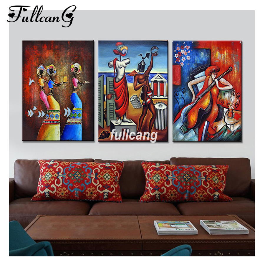 FULLCANG Full Square Diamond Embroidery African Dancers Diy 5D Diamond Painting Cross Stitch Triptych Mosaic Arts F1152 in Diamond Painting Cross Stitch from Home Garden