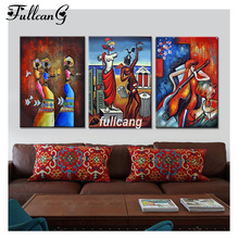 FULLCANG Full Square Diamond Embroidery African Dancers Diy 5D Painting Cross Stitch Triptych Mosaic Arts F1152