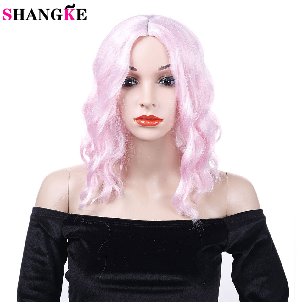 SHANGKE Women's Pink Curly Wig High Temperature Fiber Synthetic Hair Party Cosplay Short Wigs