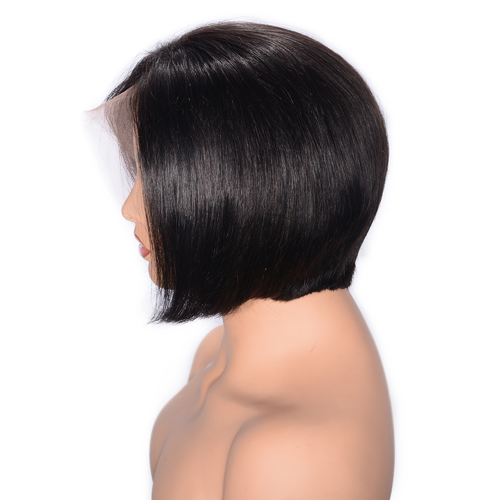 Short Brazilian Straight Full Lace Human Hair Wigs With Baby Hair Glueless Remy Full Lace Wigs Pre Plucked 180% Density Favor