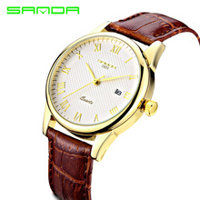 Модные алмазные Водонепроницаемый Кварцевые часы для мужчин черный Бизнес Мужские часы кожа натуральная кожа пояса пару часов