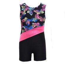 New Toddler Girls Sleeveless Printed Radium Color Costume Bodysuit Athletic Leotards Ballet Gymnastics for Kids Dance Wear(China)