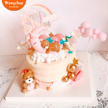 Moon Sleeping Bear Cake Topper Resin Happy Birthday Cake Toppers Baby Shower Boys Girls Party Cake Decoration Kids Favors Gifts 10pcs lot love heart balloon cake topper happy birthday party cake decoration kids beautiful favors and gifts baby shower decora
