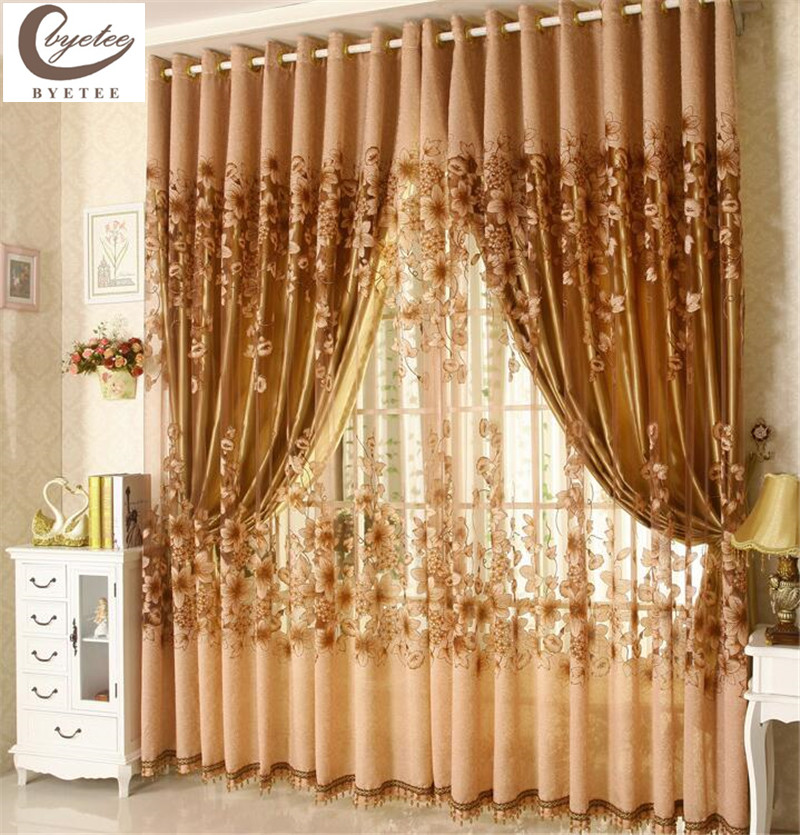 {Byetee} Ventana de lujo, sala de estar, ventana de tul, cortinas para ventana de cocina, cortinas de puerta con acabado europeo, cortinas transparentes