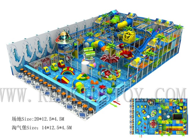 Ocean Themed Three Floors Electric Big Indoor Playground With Soft Play Area HZ-170211