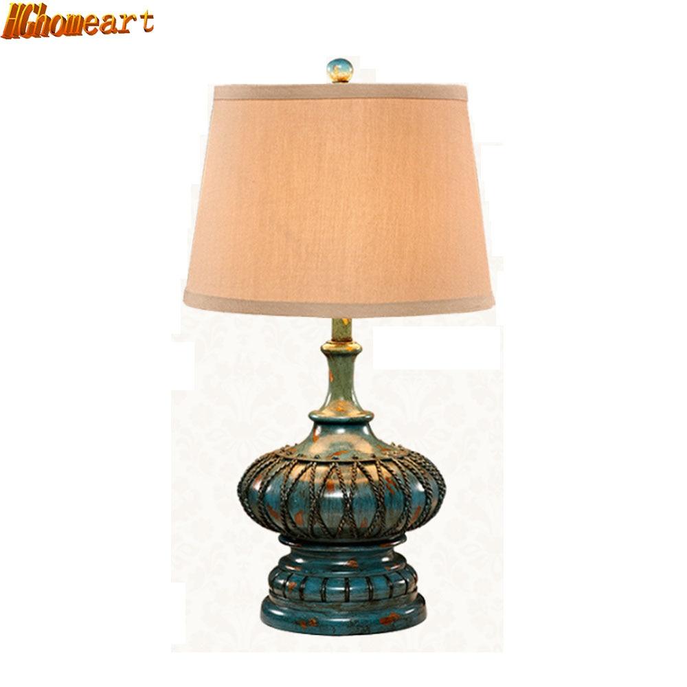Hghomeart europäischen stil tischlampen led luxus schlafzimmer wohnzimmer e27 schreibtisch lichter antiken kreative retro romantische nachttischlampe