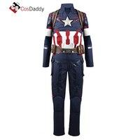 CosDaddy капитан America3 Косплэй костюм Стив Роджерс Костюмы Для мужчин полные комплекты брюки пальто ремень супергероя Вечерние