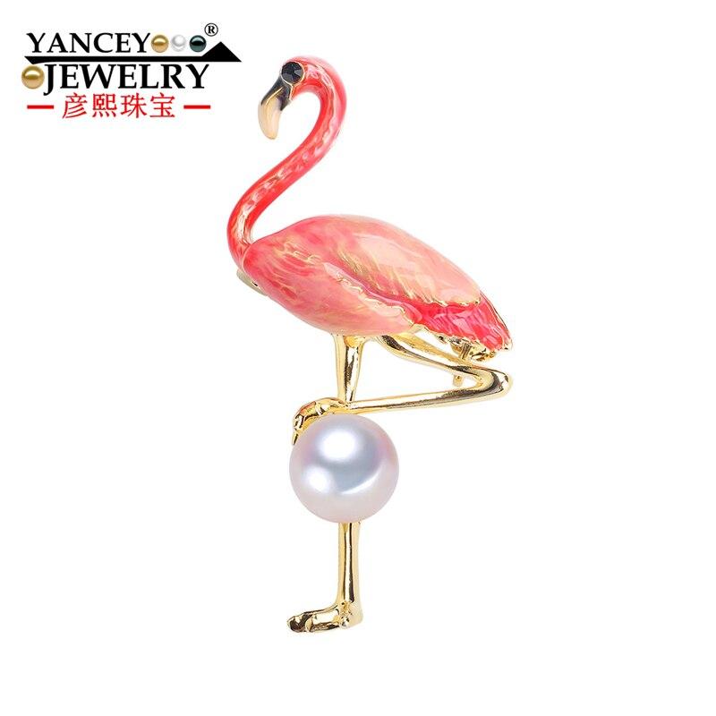 New 2019 YANCEY Jewelry Freshwater Pearl Flamingo Brooch, Womens coat fashion hundred matching