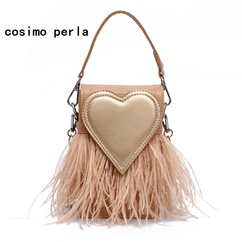 INS Hot Small Tote Bag Feather Tassel Heart Flap Purse Luxury Designer Cute Leather  Crossbody Bag for womens handbags and purses 01002b500e5a8