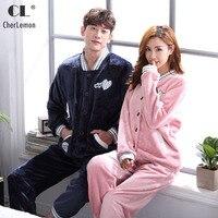 Cherlemon Çift Flanel Pijama Erkek Kış Termal Pijama kadın Sıcak Yumuşak Pijama Moda Mercan Polar Hırka Ev Suit