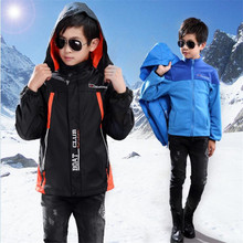 Three-in-one boy Jackets Spring and autumn models Children's detachable outdoor windbreaker plus velvet children's clothing jack