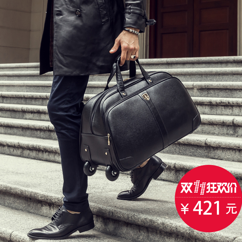 High Quality Buffalo Hide Travel Bag Trolley Genuine Leather Handbag Luggage Bags Black In From