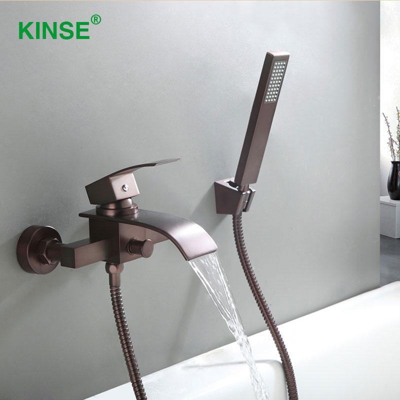 kinse materiale ottone orb fine rubinetto della vasca da bagno classico stile cascata rubinetto vasca da bagno miscelatore con d