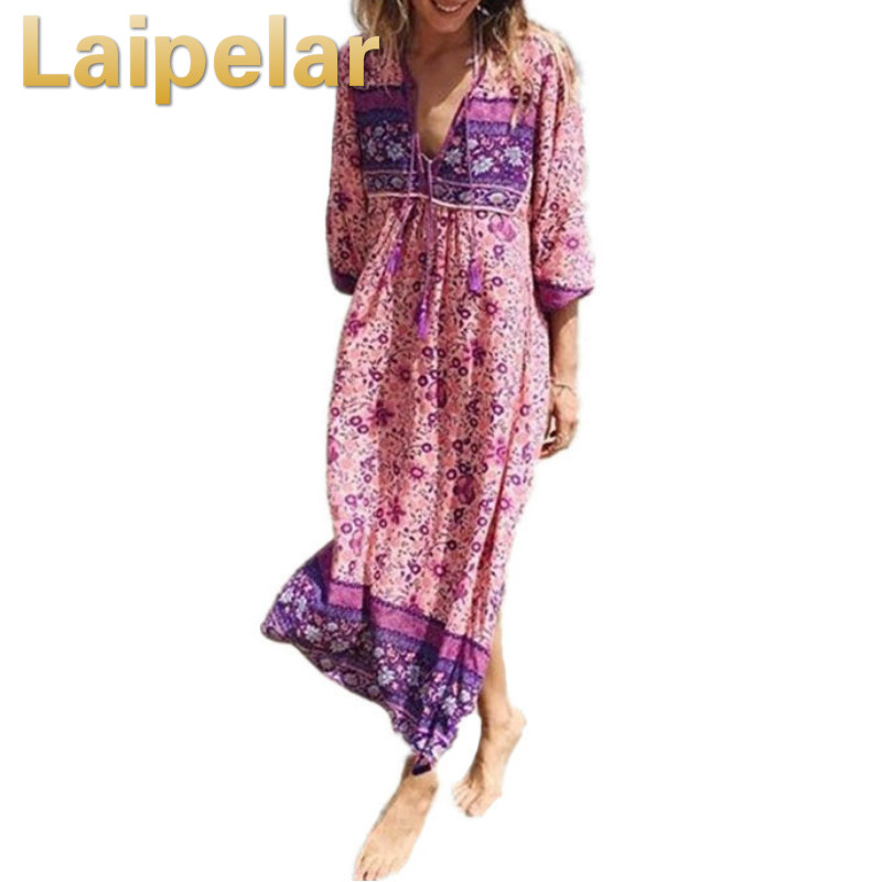 Laipelar Boho Dress Chic Floral Print Cotton Maxi Dess V-neck Long Sleeve Tassel Women Dresses 2018 Autumn Bohemia Femme Dresses