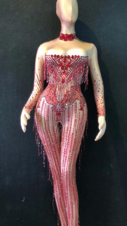 النساء المرحلة الرقص تمتد بذلة زي واحدة قطعة هامش كبيرة تمتد دنة السروال القصير الزي الأحمر بلورات شرابة بذلة-في أفرول من ملابس نسائية على  مجموعة 1