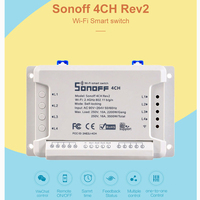 Sonoff 4CH R2 4 Gang Wifi Light Smart Switch 4 Channels Electronic Switch IOS Android App Control Works With Alexa Google Home Home Automation Modules