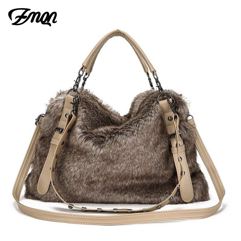 ZMQN Luxury Crossbody Bag Hobo Soft Leather Women Tote Winter Three Shoulder Strap Designer Handbags Famous Brand Plush Fur A927 десятое королевство набор для творчества вышивка утенок с рамкой и пяльцами