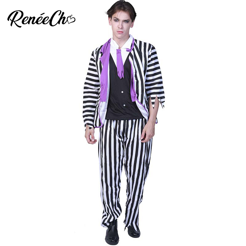 Adult Costumes For Men Halloween Grand Heritage Beetlejuice Costume Horror Graveyard Ghost Costume 2018 Striped Zombie Cosplay