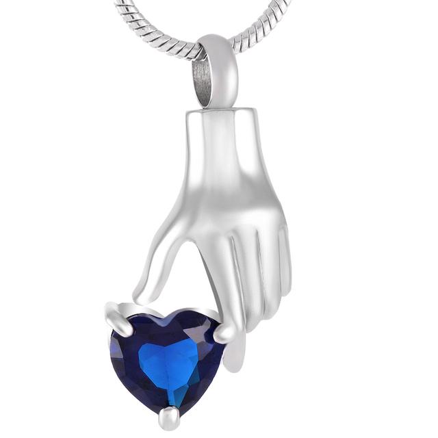 Stainless Steel & Heart Shaped Zircon Memorial Urn