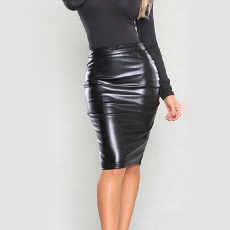 Black Blue 2018 Autumn Winter Fashion Bodycon PU Leather Club Pencil Skirt Casual Woman Clothing Sexy Midi Skirt Saia Feminina