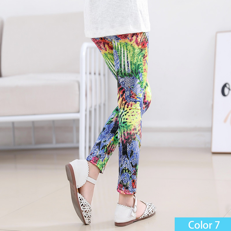 SheeCute/Леггинсы с принтом для девочек; одежда для маленьких девочек; Детские обтягивающие леггинсы с цветочным принтом; SC1752 - Цвет: color7