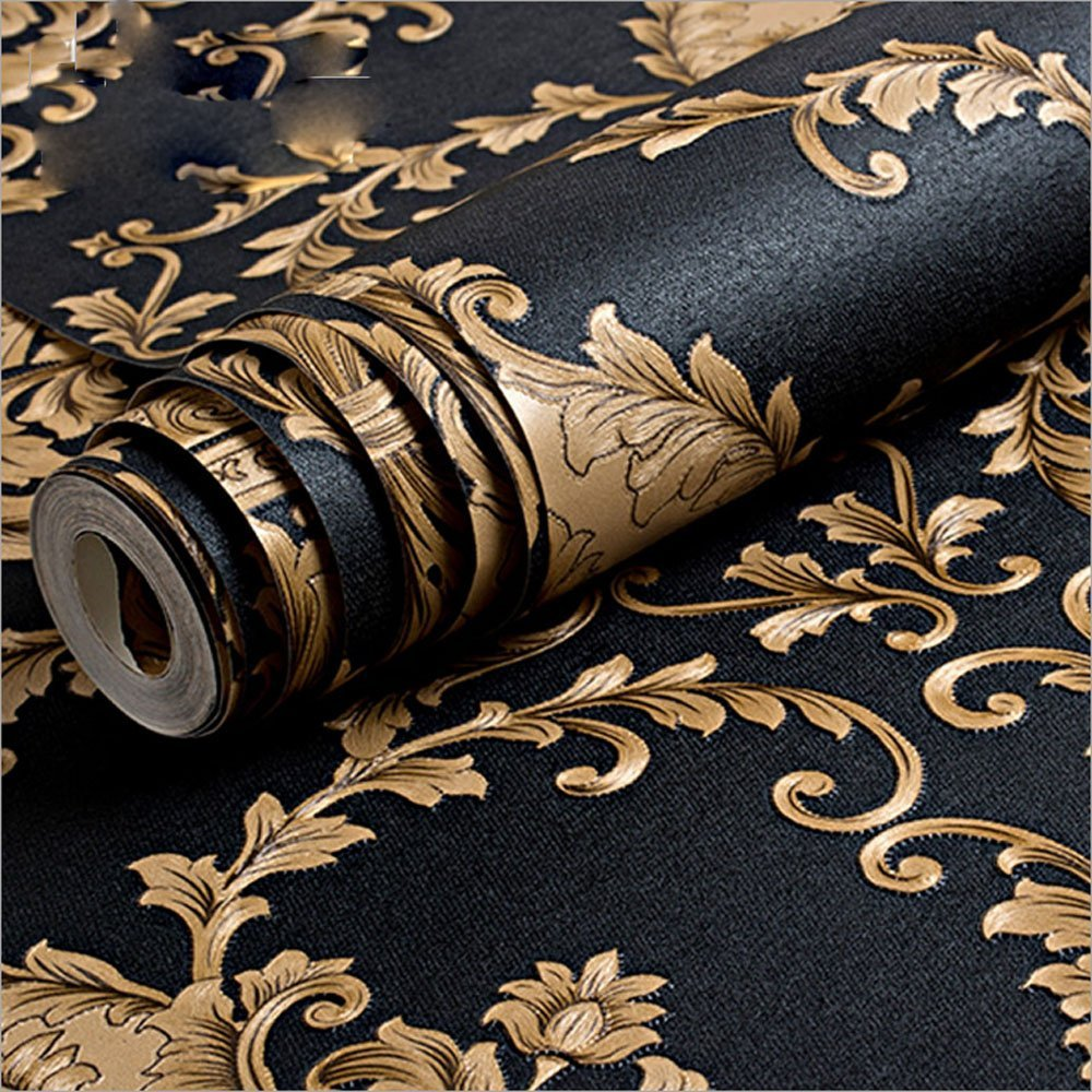 Q QIHANG Modern Vintage Classic Black&Gold French Damask Feature Wallpaper Roll 5.3m2Q QIHANG Modern Vintage Classic Black&Gold French Damask Feature Wallpaper Roll 5.3m2
