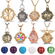 New Charm Mexico Chime Hollow Angel Wings Vintage Necklace Jewelry Music Ball Aroma Pendant For Women Summer Fashion Accessories