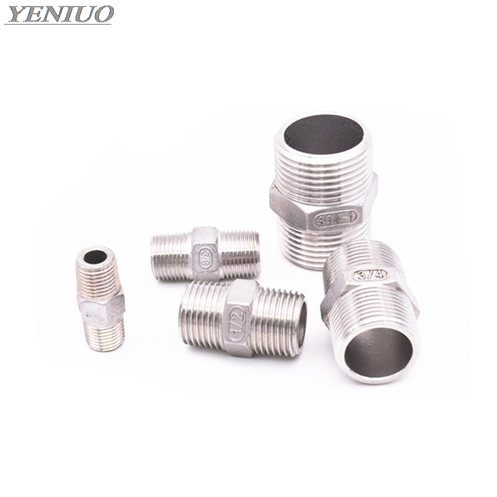 "1/8"" 1/4"" 3/8"" 1/2"" 3/4"" 1"" 1-1/4"" 1-1/2"" BSP  Male To Male Thread Hex Nipple Threaded Reducer Pipe Fitting Stainless Steel 304"
