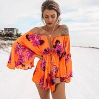 Lily Rosie Girl Off Shoulder Flare Sleeve Summer Playsuit Print Floral Boho Beach Playsuit Women Orange Short Jumpsuit Rompers