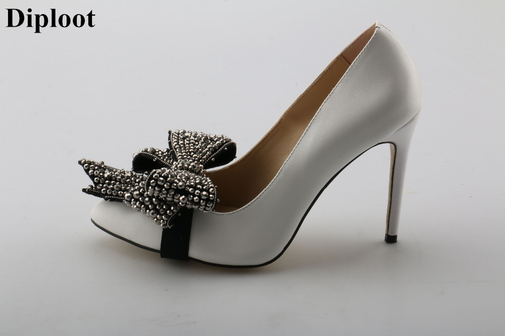 Dipsloot The Latest 2018 Girls Sweety Crystal Bowtie Embellished Stiletto High Heels Dress Wedding Shoes Woman Pointed Toe Pumps 2018 new pointed toe crystal high heels shoes woman yellow suede bowtie stiletto pumps ladies fashion party wedding dress shoes