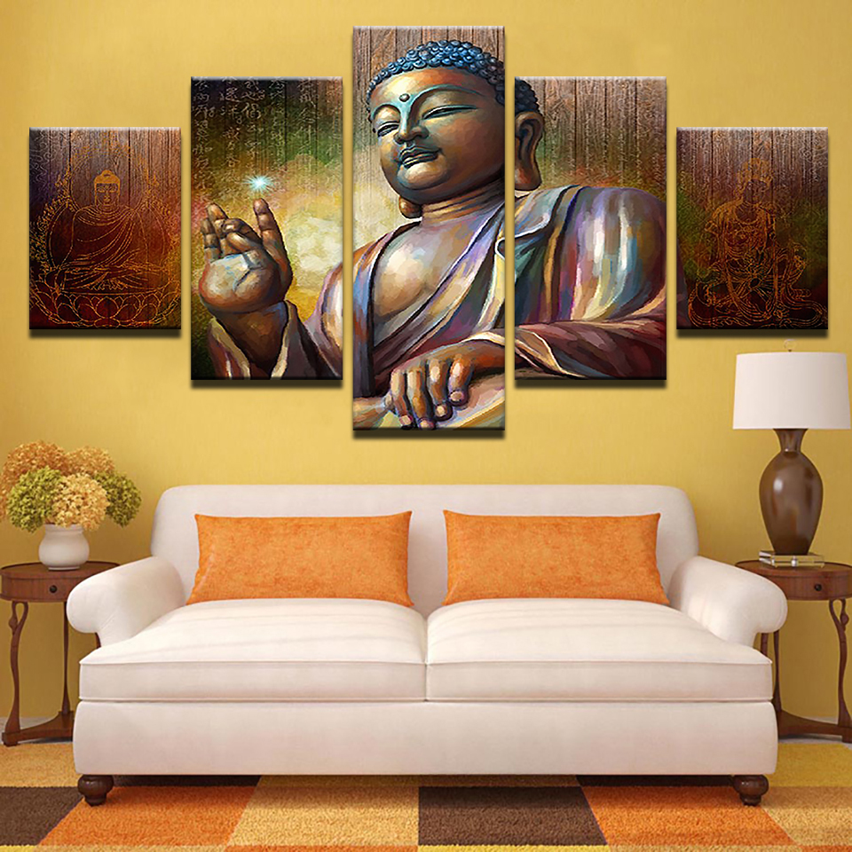 Home Decoration Printed Painting Modular 5 Panel Buddha Vintage Art Canvas Wall Cuadros Picture For Living Room Poster