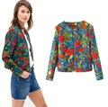 2015 mujeres del otoño chaqueta del béisbol del Vintage piloto de impresión bolsillos del abrigo de señora de béisbol outwear y abrigos Tops causales