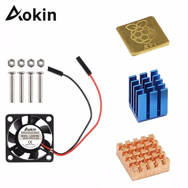 Aokin 5V / 3.3V Cooling Fan With Screws + Heat Sink 1 Aluminum With 2 Copper For Raspberry Pi 3 / Pi 2 Model B Rpi B+