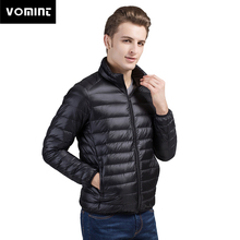 VOMINT hombres Ultra ligero abajo chaqueta 90% pato abajo chaquetas de manga larga abrigo Delgado Parka abrigo sólido Portabl outwear M-4XL