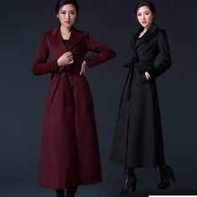 2017 High fashion women long cashmere coat turn down collar ladies wool coat autumn winter jacket coat plus size trench coat