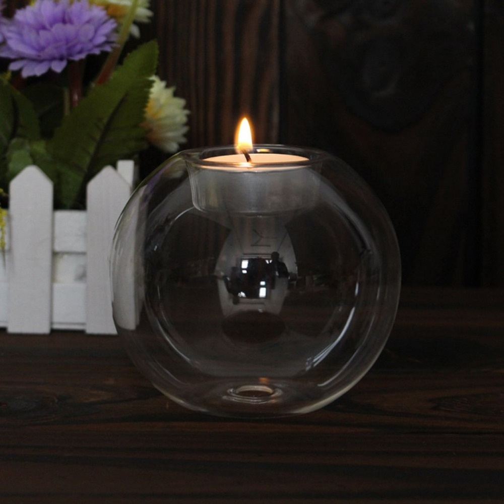 Rounded Hollow Glass Candle Holder 10
