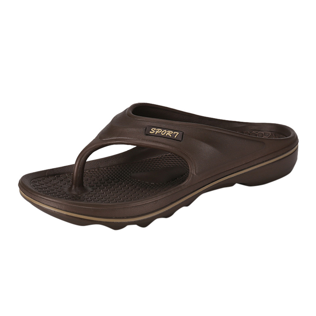 Мужские летние Вьетнамки; стиль; мягкая резиновая обувь; пляжные мужские тапочки; Массажная Мужская водонепроницаемая обувь - Цвет: Коричневый
