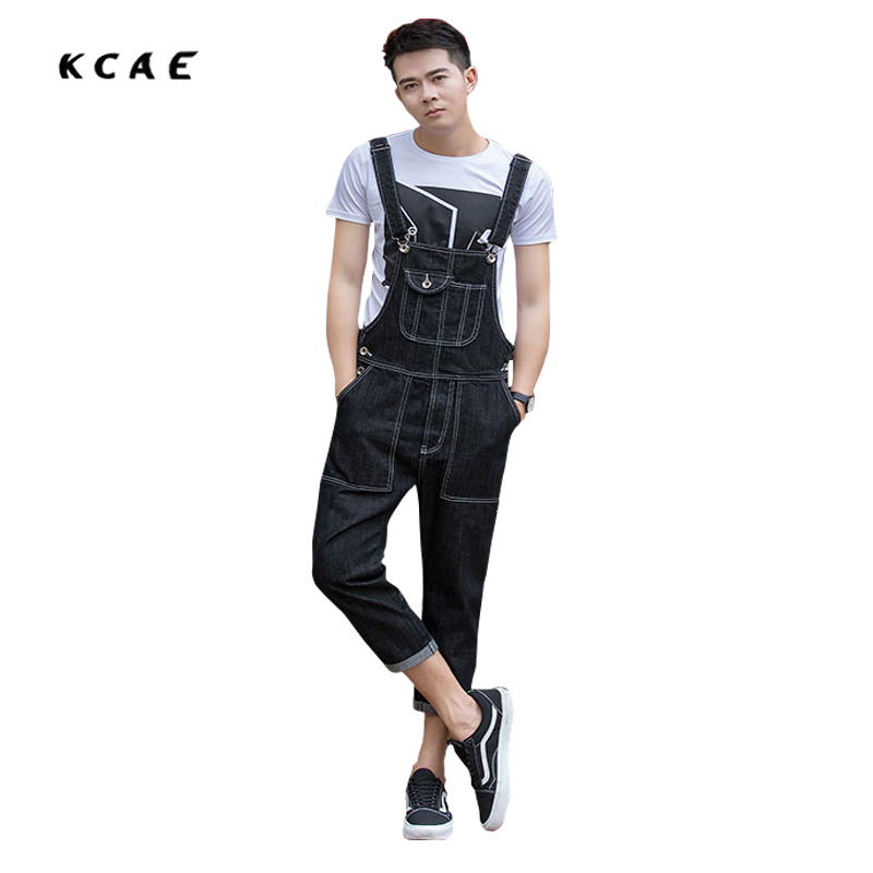 2017 New Men's Fashion Pocket Black Denim Overalls For Male Casual Slim Jumpsuits Plus Large Size Jeans Bib Pants Free Shipping 2016 new men s casual pocket blue denim overalls slim jumpsuits pants ripped jeans for man plus size 28 34